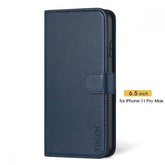 TUCCH iPhone 11 Pro Max Wallet Case with Magnetic, iPhone 11 Pro Max Leather Case - Blue
