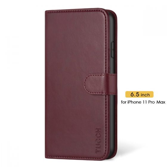 TUCCH iPhone 11 Pro Max Wallet Case with Strap, iPhone 11 Pro Max Stand Case with Card Holder - Wine Red