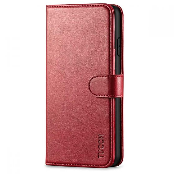 TUCCH iPhone Xs Max Wallet Case - iPhone 10s Max Flip Folio Cover with RFID Blocking, Stank, Magnetic Closure - Wine Red