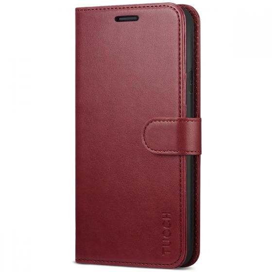 TUCCH iPhone XR Wallet Case - Leather Cover, Stand, Flip Style - Dark Red