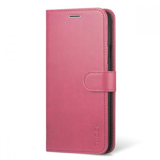 TUCCH iPhone XS Wallet Case, iPhone XS Leather Case Cover, Auto Sleep/Wake up, Stand, Magnet Clasp - Pink
