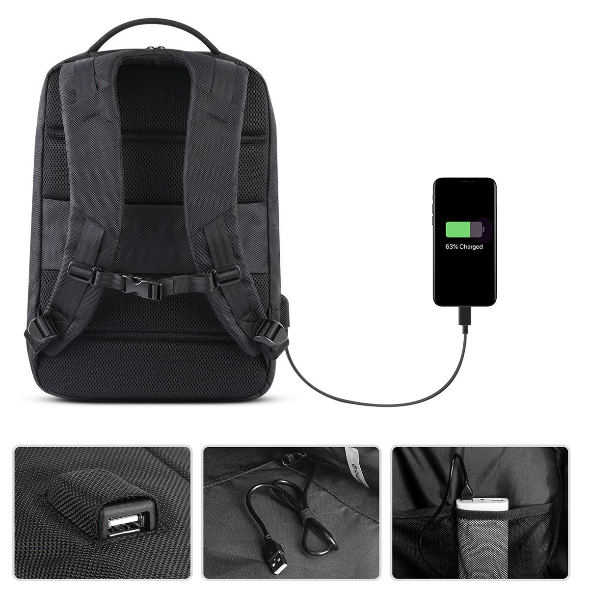 27b3a35f0 SHIELDON Travel Laptop Backpack, Business Anti Theft Slim Durable Laptops Backpack  with USB Charging Port, Water Resistant College School Computer Bag for ...