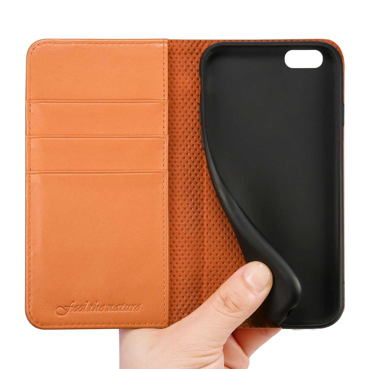 the best attitude 73cb1 de06c SHIELDON iPhone 6 Leather Book Flip Genuine Case, iPhone 6s Leather Wallet  Case