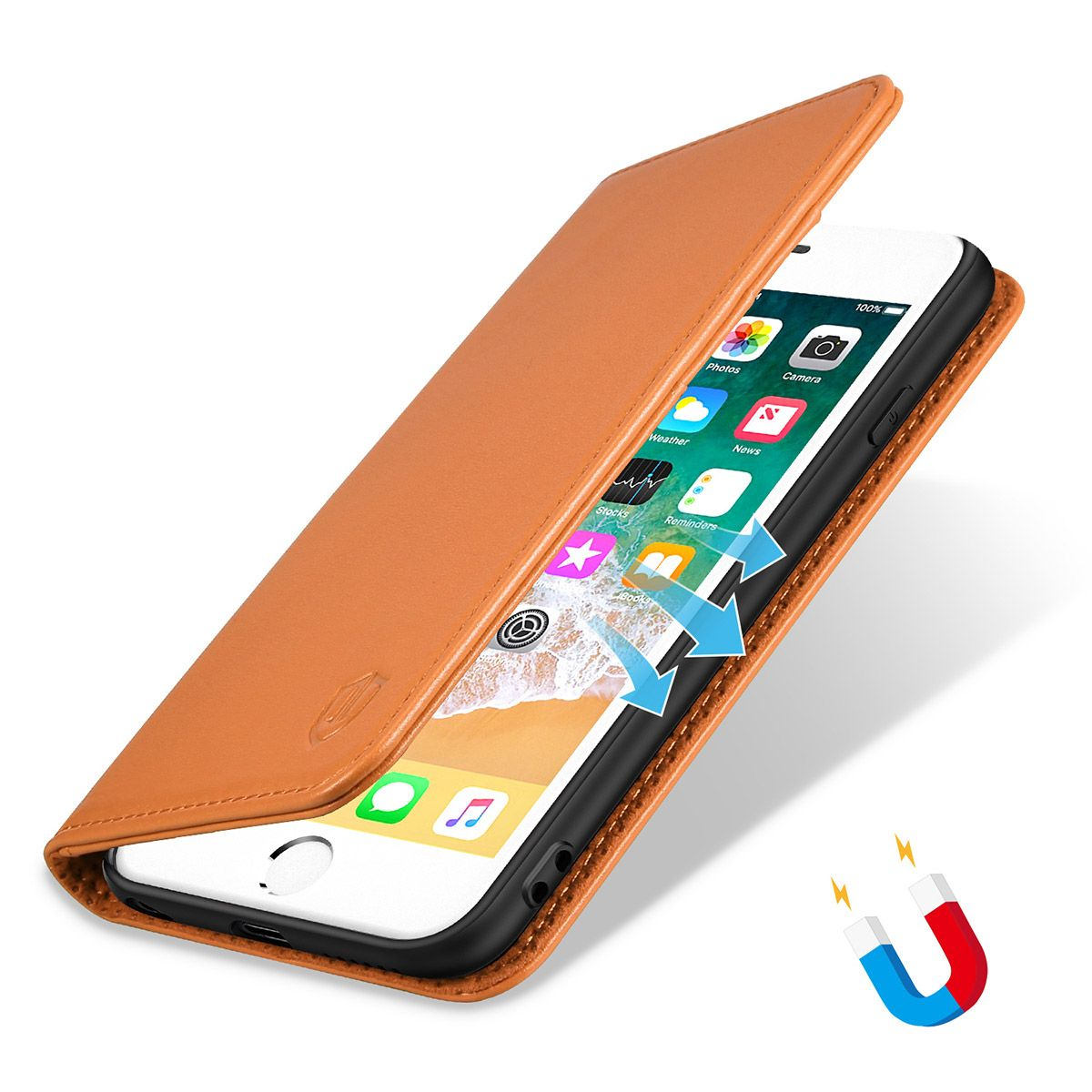 the best attitude 690a9 c83e1 SHIELDON iPhone 6 Leather Book Flip Genuine Case, iPhone 6s Leather Wallet  Case