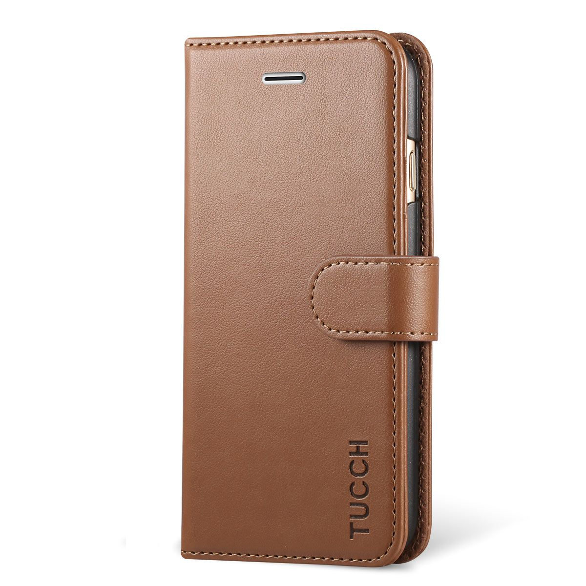 timeless design e05ca c3633 TUCCH iPhone 7 Wallet Case, iPhone 8 Case, Stand Holder and Magnetic  Closure, Brown