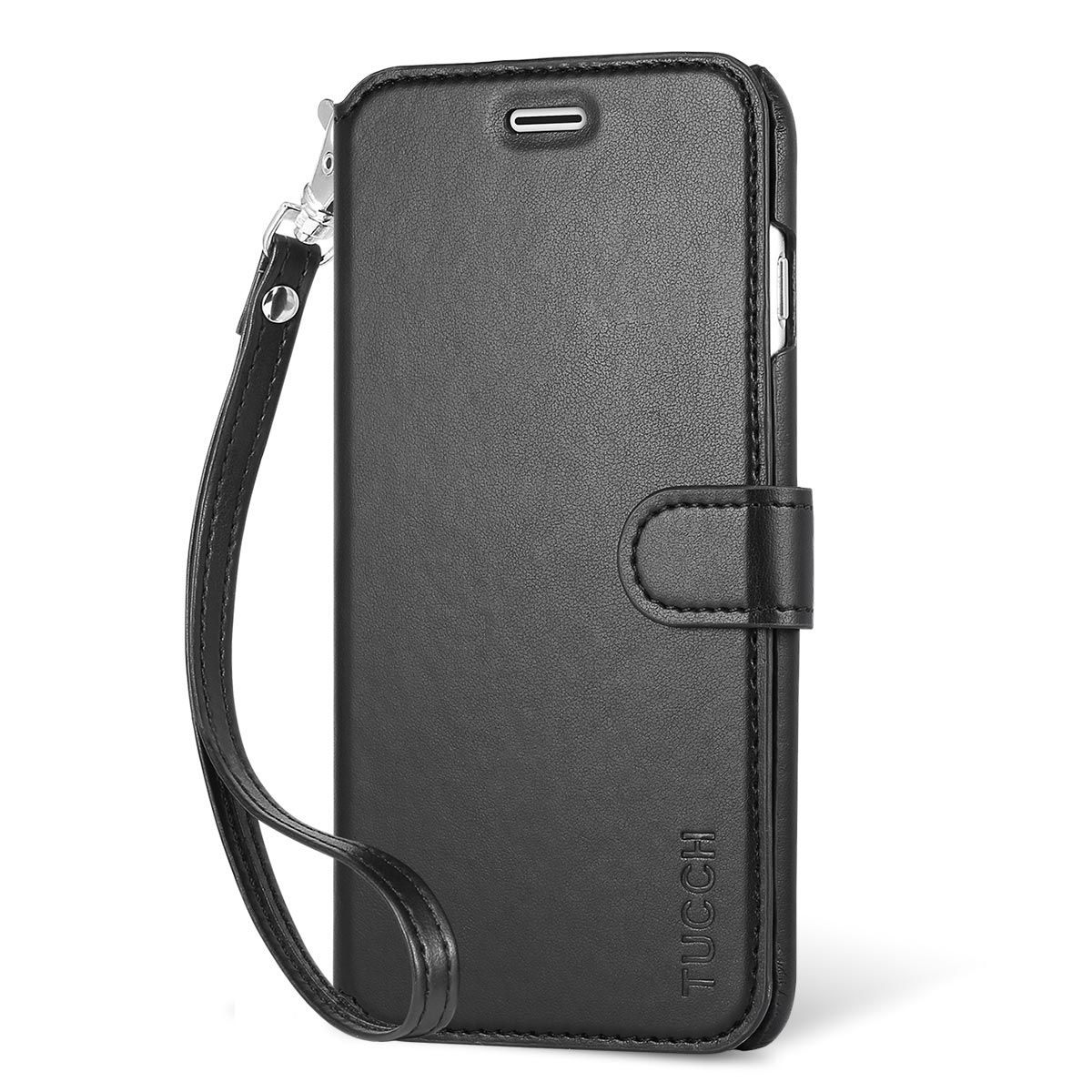 super popular 303ee 20689 TUCCH iPhone 7 Plus Wallet Case, Wrist Strap, PU Leather Case