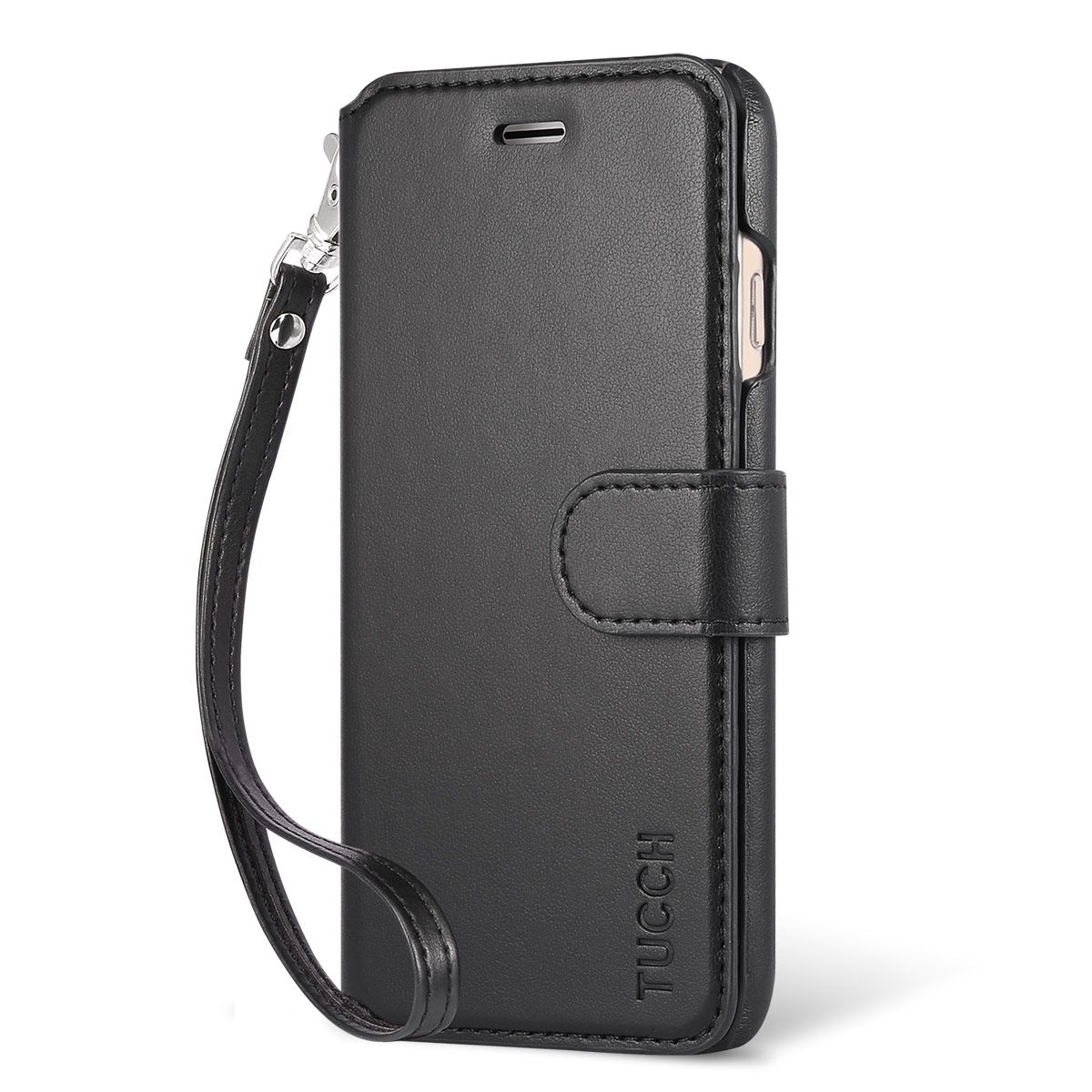 reputable site a79ce c012f TUCCH iPhone 7 Wallet Case, Wrist Strap, PU Leather Case