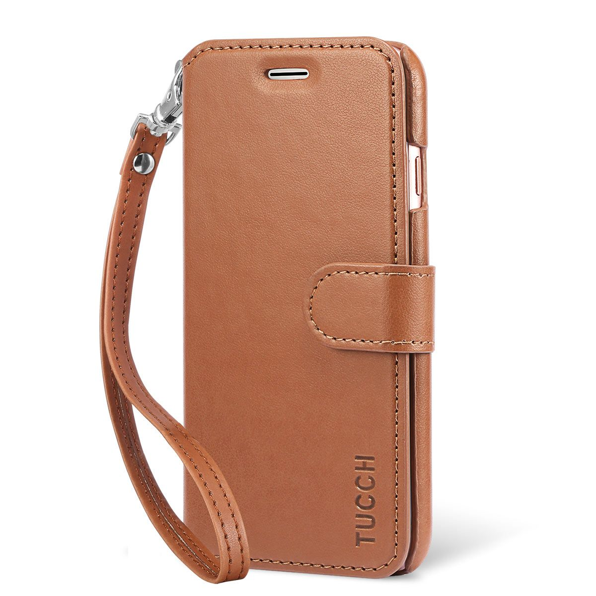 new styles a6946 975c7 TUCCH iPhone 7 PU Leather Wallet Phone Case, Wrist Strap, Magnetic Closure