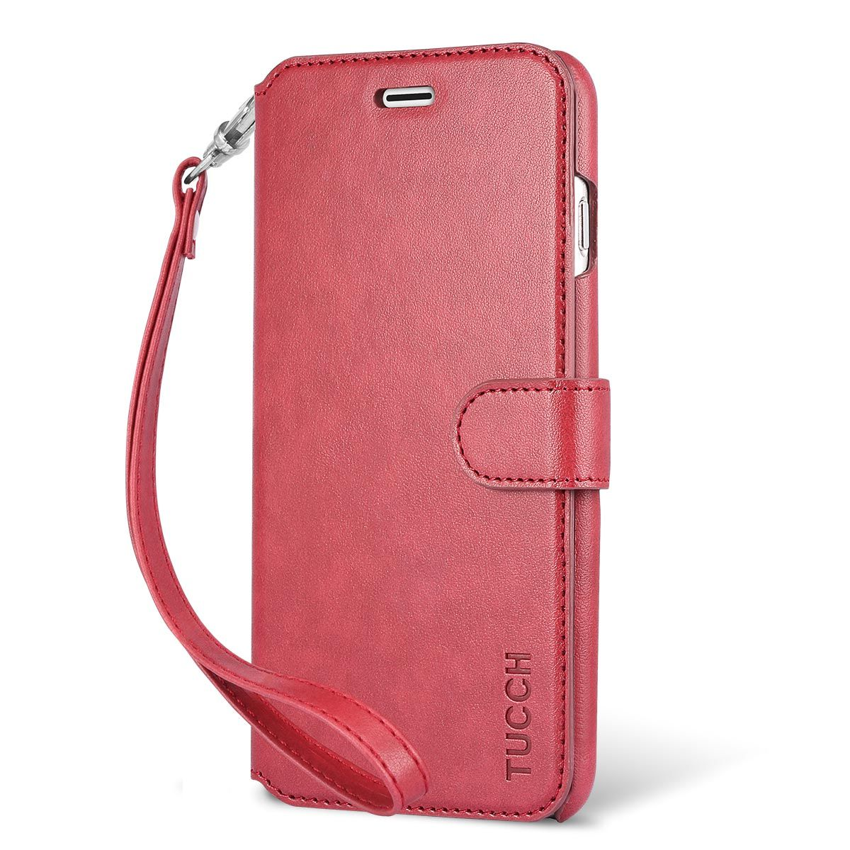 TUCCH iPhone 6S / 6 Plus PU Leather Book Case, Magnetic Closure, Wrist Strap