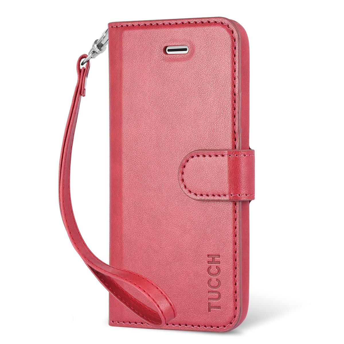 pretty nice c4a70 52192 TUCCH iPhone 5/5S/SE Case Leather Wallet Case, Flip Book Case Cover with  Stand & Credit Card