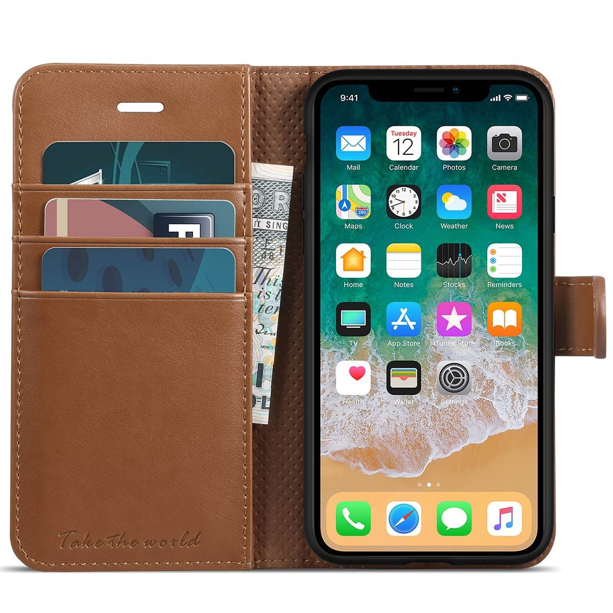 IPhone X Wallet Case, IPhone 10 Leather Case, TUCCH