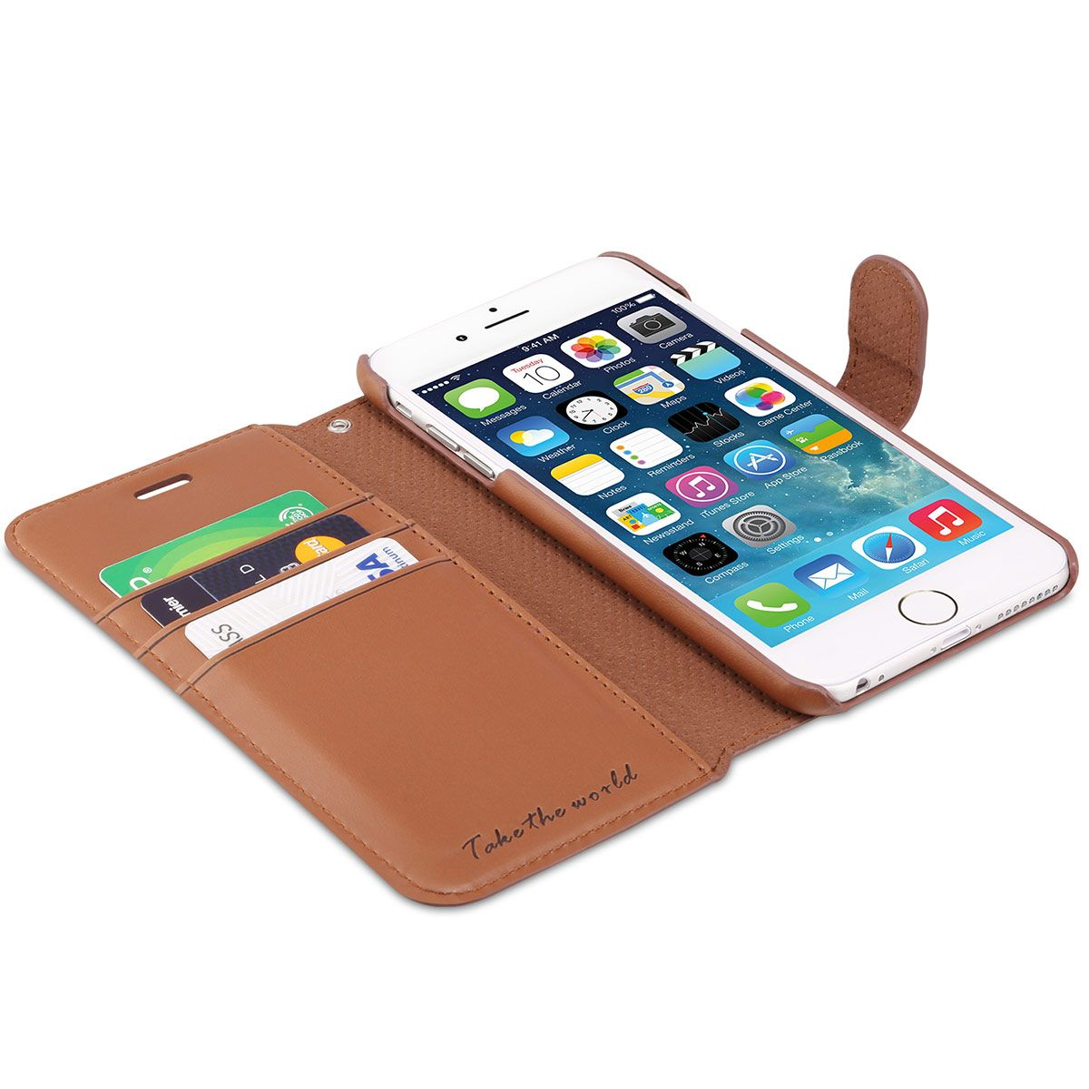 TUCCH iPhone 6S/6 Plus Leather Wallet Phone Case, Wrist Strap