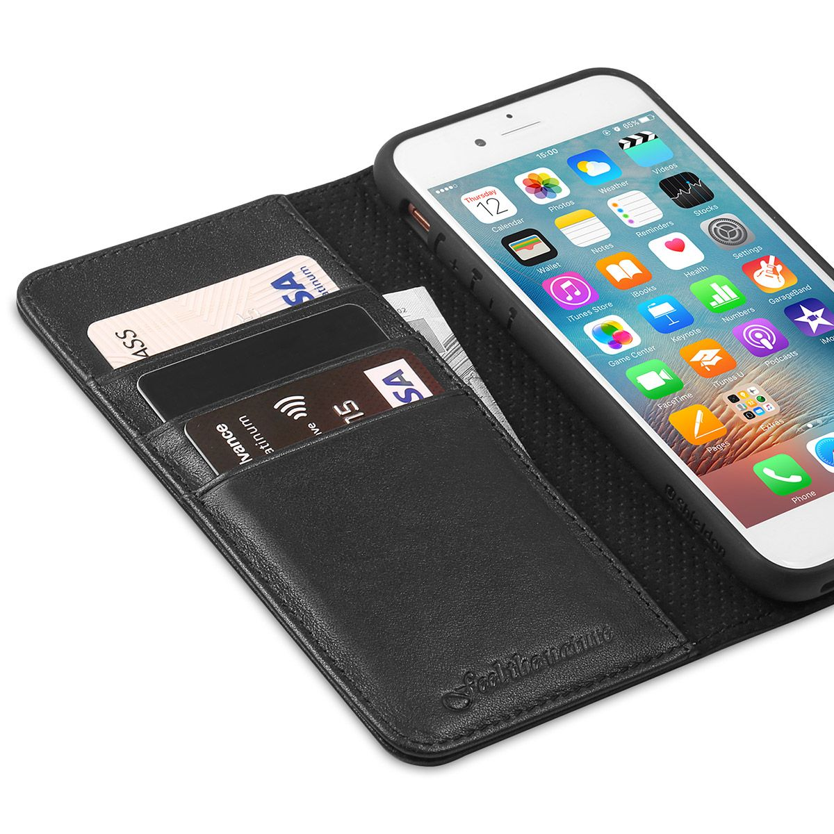 sports shoes a8cdc d1d35 SHIELDON iPhone 8 Wallet Case, iPhone 7 Leather Case Cover with Genuine  Leather Case, Flip Cover, Folio Style