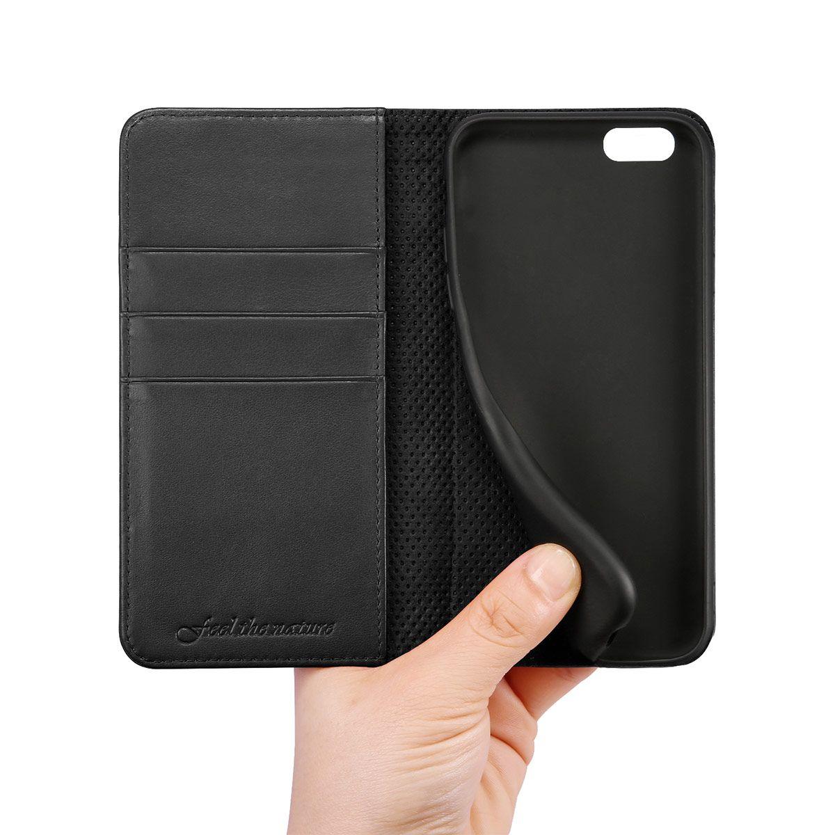 shieldon iphone 6 plus folio case genuine leather cover. Black Bedroom Furniture Sets. Home Design Ideas