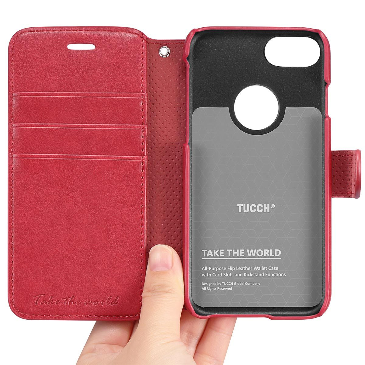 new arrival d8642 55beb TUCCH iPhone 7 Wallet Phone Case, PU Leather Kickstand Case, Red
