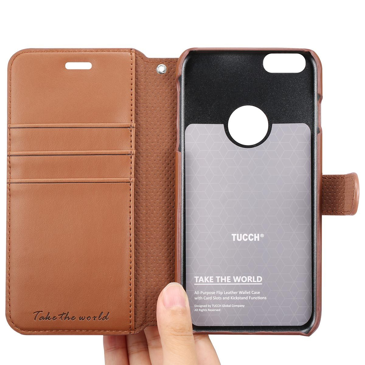pretty nice d5fa3 4cc9a TUCCH iPhone 6S / 6 Plus Leather Wallet Phone Case, Wrist Strap