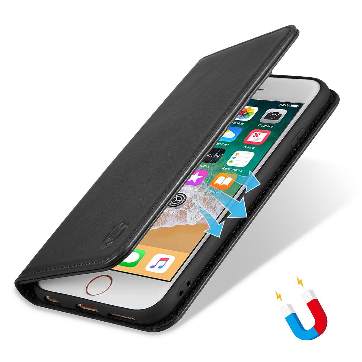 the latest 81fbf 80bda SHIELDON iPhone 6 Plus Folio Case, iPhone 6s Plus Wallet Case - Genuine  Leather Cover with TPU