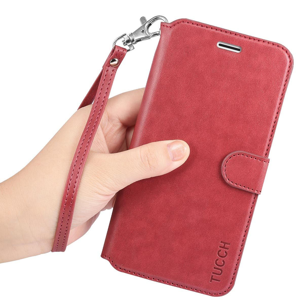 new styles 40e61 6accb TUCCH iPhone 6S / 6 Plus PU Leather Book Case, Magnetic Closure, Wrist Strap