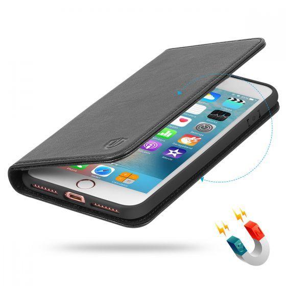 Shieldon Iphone 8 Plus Wallet Case Black Genuine Leather Cover