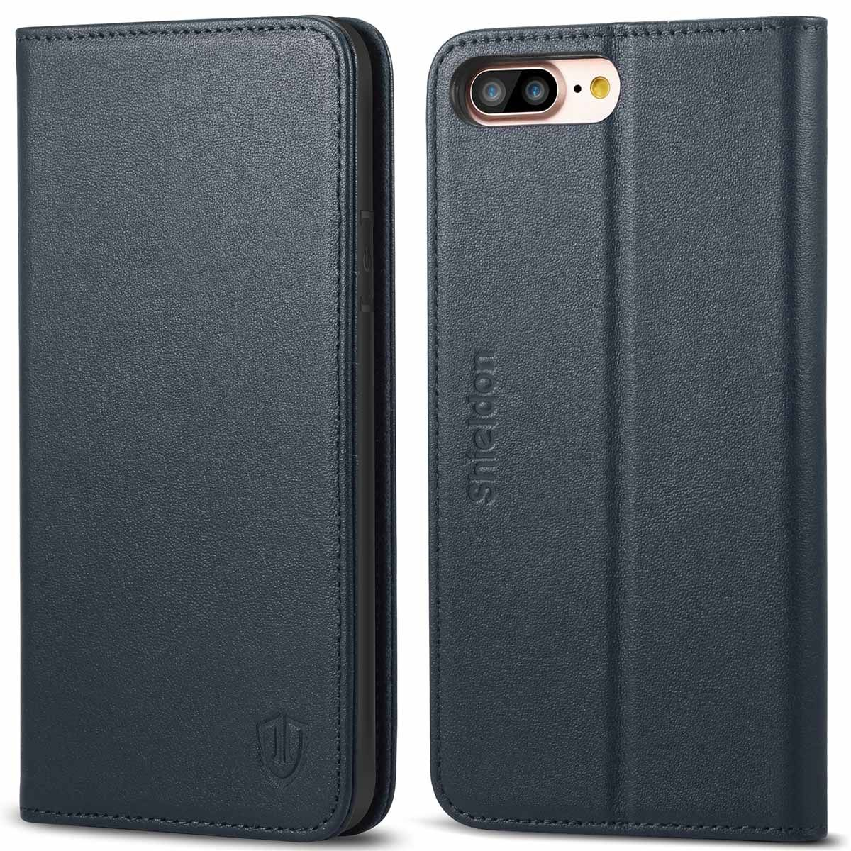 hot sale online 05551 c8345 SHIELDON iPhone 8 Plus Wallet Case, iPhone 7 Plus Wallet Case - Genuine  Leather Cover, Kickstand, Flip Cover