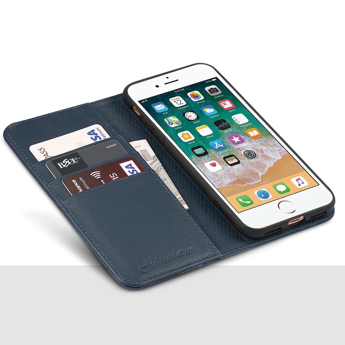 hot sale online 8cdf4 e258a SHIELDON iPhone 8 Plus Wallet Case, iPhone 7 Plus Wallet Case - Genuine  Leather Cover, Kickstand, Flip Cover