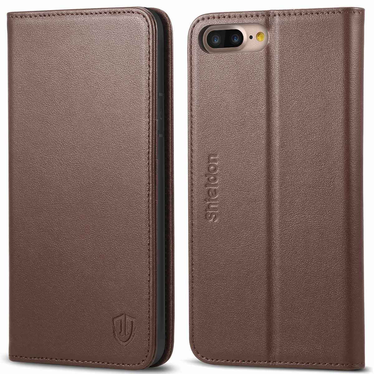 premium selection 11fe9 261b8 SHIELDON iPhone 8 Plus Wallet Case, iPhone 7 Leather Case - Genuine Leather  Cover, Magnetic Closure, Kickstand