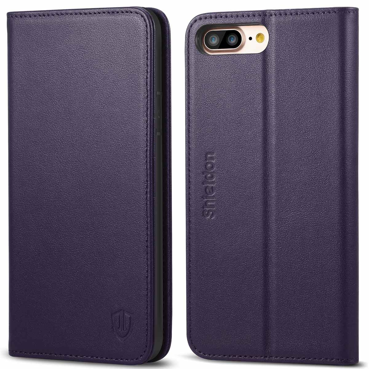 37aab27591 SHIELDON iPhone 8 Plus Wallet Case - Purple color Genuine Leather ...