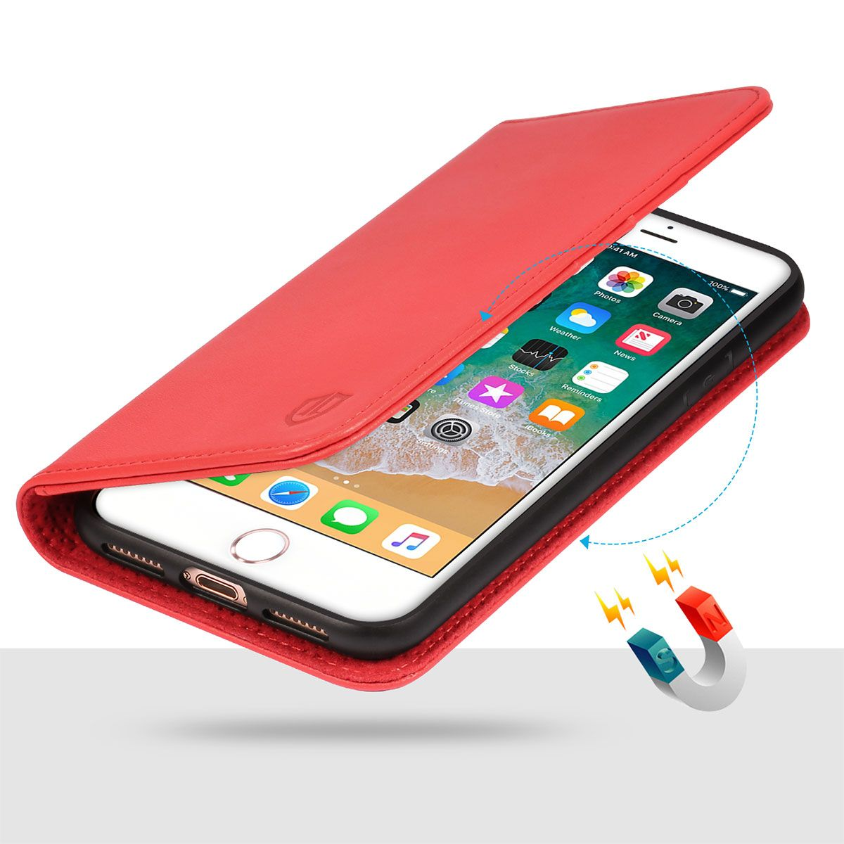 pretty nice 48bd1 ff479 SHIELDON iPhone 8 Plus Wallet Case, iPhone 7 Plus Folio Case with  Kickstand, Magnetic Closure