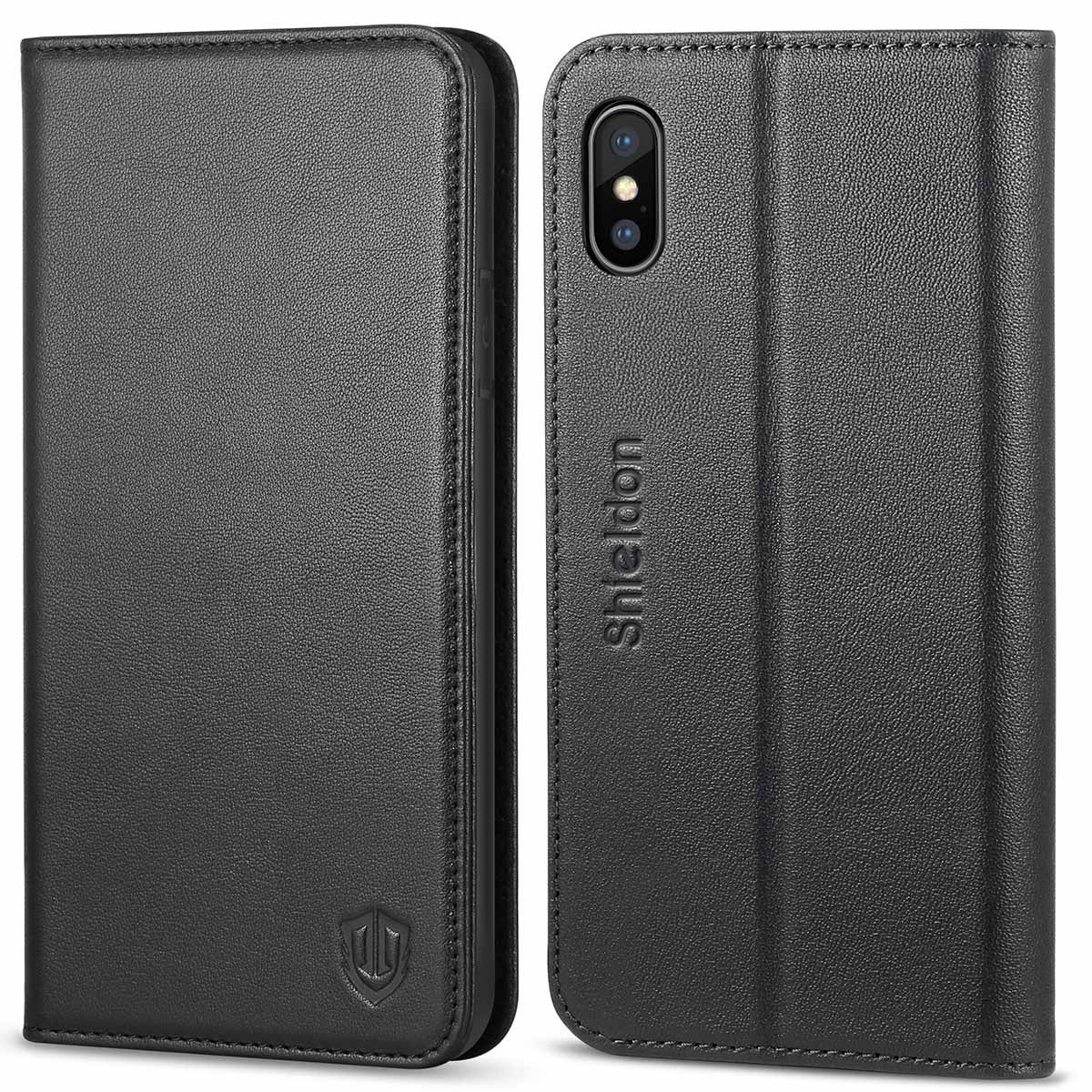 new style fc785 d836c SHIELDON iPhone X Genuine Leather Wallet Flip Cover, iPhone 10 Case with  Magnetic Closure, Kickstand Function