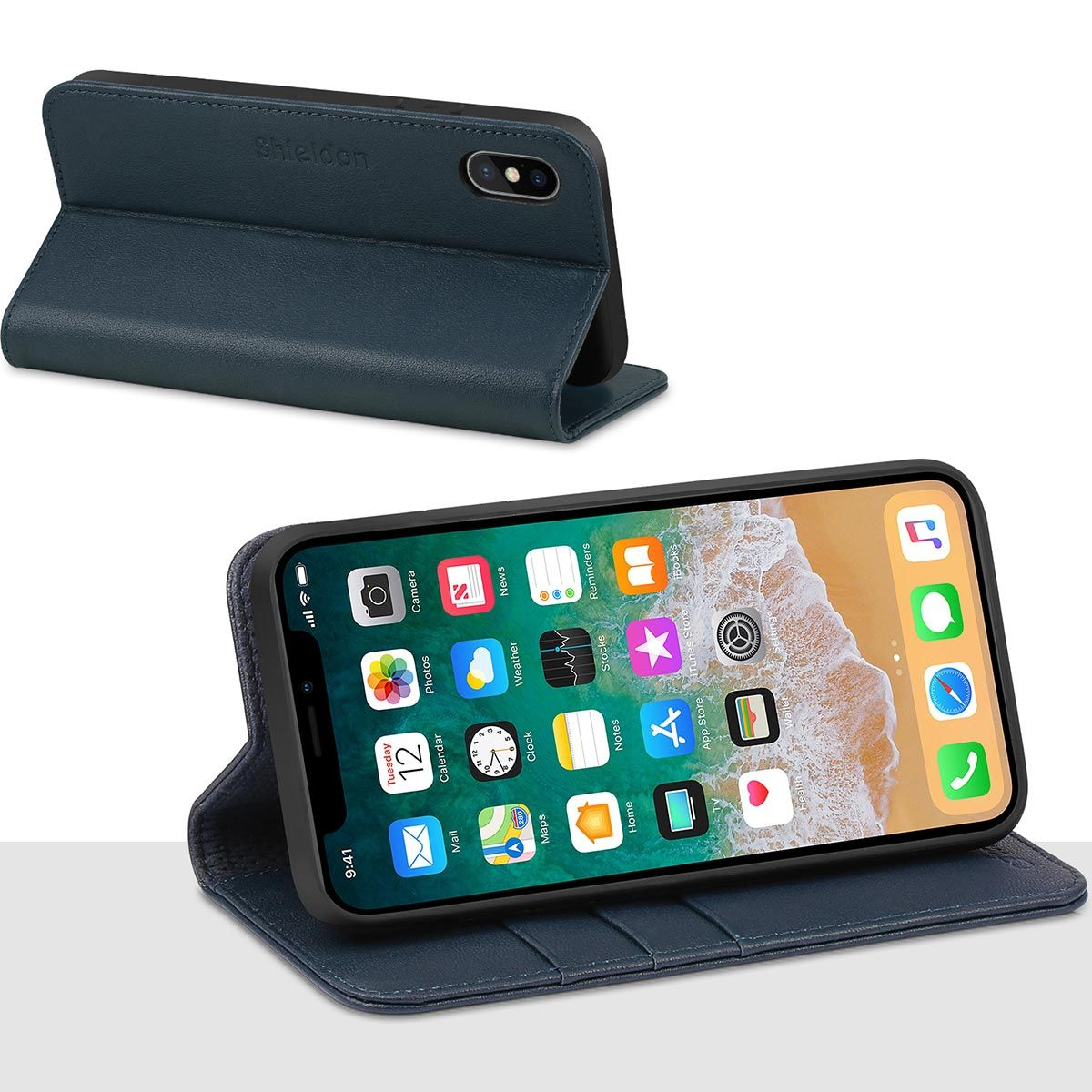 269b7f0aed4 SHIELDON iPhone X/10 Flip Wallet Case with Magnetic Closure, Kickstand  Function