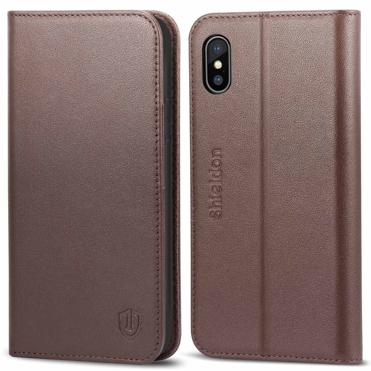 reputable site 634b6 60d7d SHIELDON iPhone X Genuine Leather Flip Cover, Kickstand, Magnetic Closure