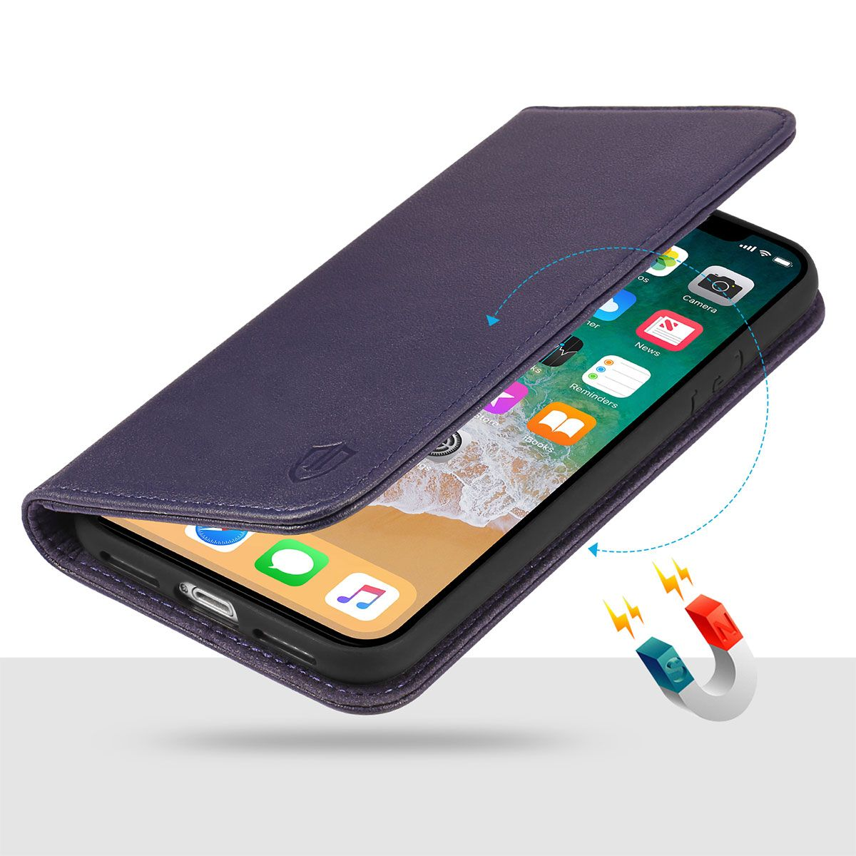 on sale d96b9 c285c SHIELDON iPhone X Wallet Case with Genuine Leather, iPhone 10 Case,  Magnetic Closure, Flip Cover, Book Style