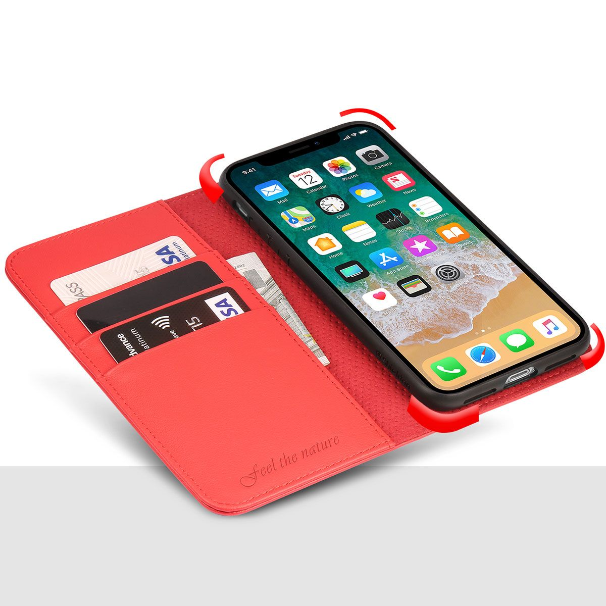 purchase cheap ff3e1 0c394 SHIELDON iPhone X Genuine Leather Wallet Case, Magnetic Closure, Flip  Cover, Kickstand