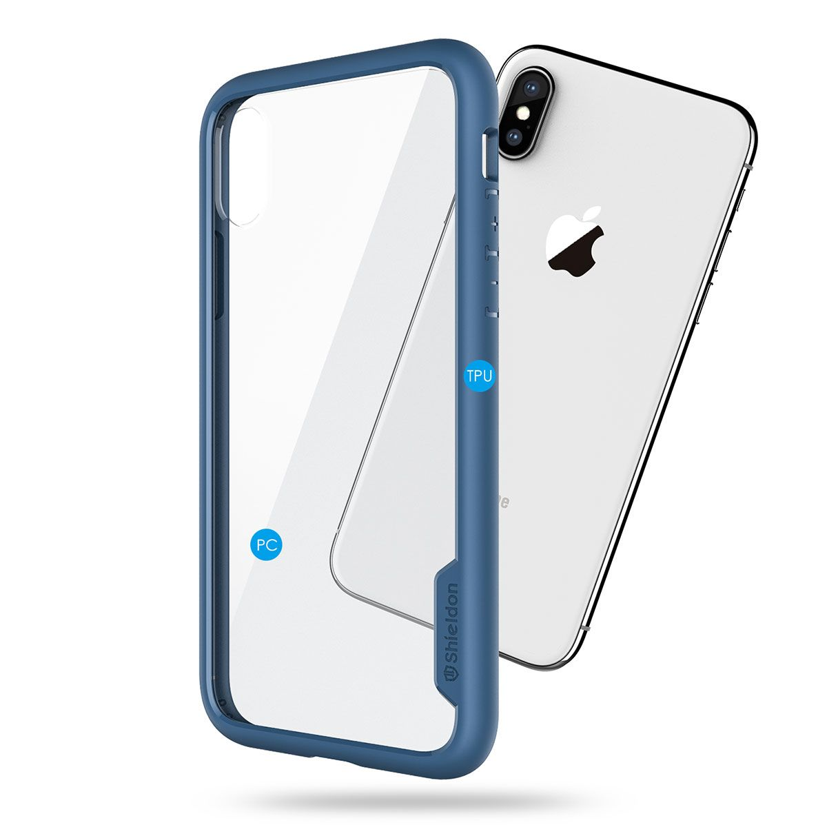los angeles 6551f 97c9a SHIELDON iPhone XS / iPhone X Case - Coral blue iPhone X / iPhone 10 TPU  bumper Case with Transparent Back Cover - Glacier Series