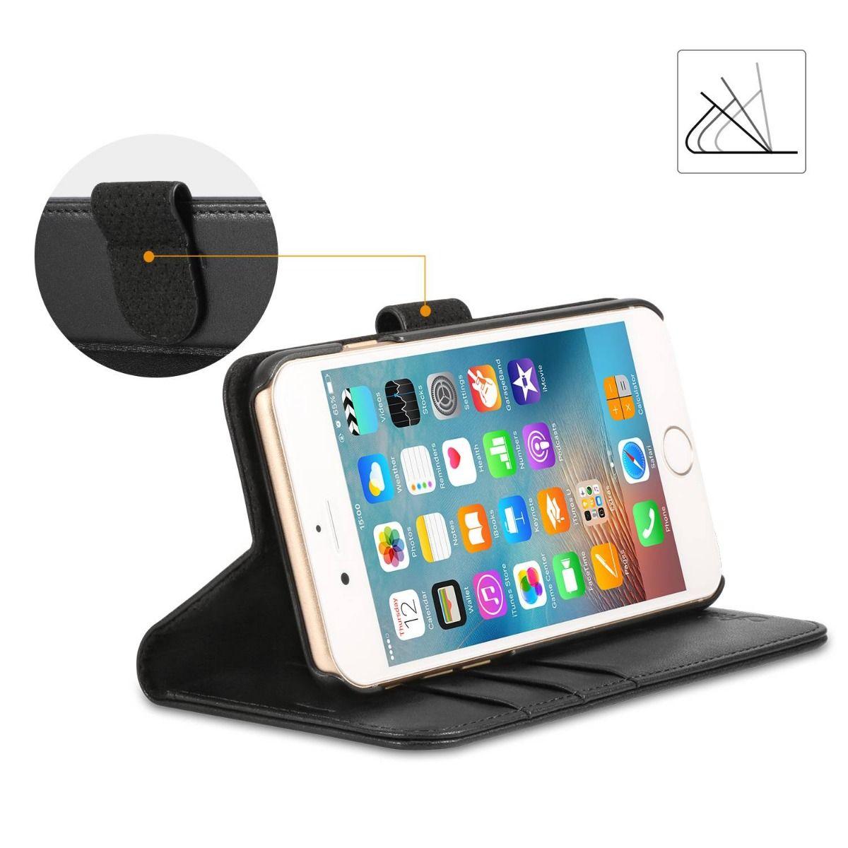 Shieldon Iphone 6s Genuine Leather Flip Case With Card Holder Dus 6 Plus Fullset Acc