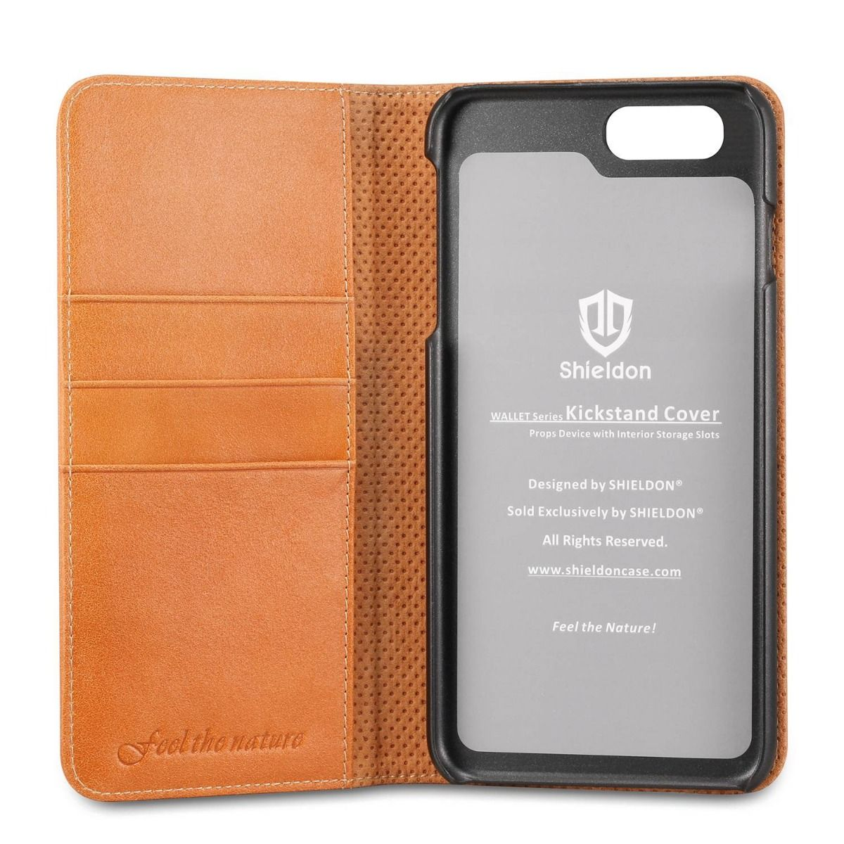 SHIELDON iPhone 6S Plus Genuine Flip Cardholder Book Case