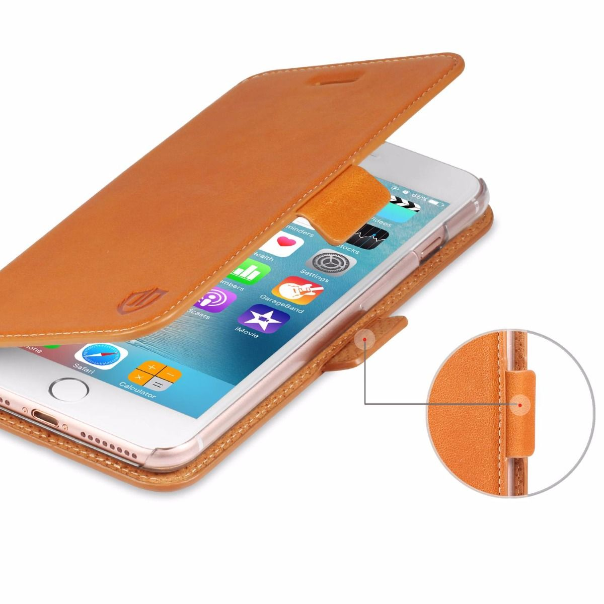 shieldon iphone 7 plus flip case genuine leather case. Black Bedroom Furniture Sets. Home Design Ideas