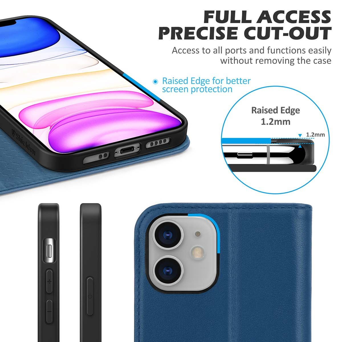 SHIELDON iPhone 12 Wallet Case, iPhone 12 Leather Cover ...