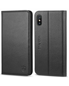 SHIELDON iPhone X Genuine Leather  Wallet Case, Black iPhone 10 Case with Magnet Closure, Flip Cover, Kickstand Function, Book Style