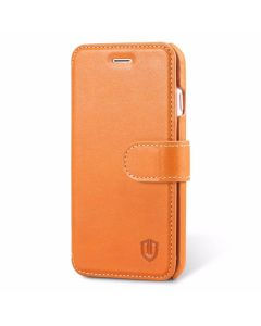 SHIELDON iPhone 8 Book Case, Genuine Leather, Magnet Closure, Kickstand Function, Flip Cover, Folio Style