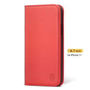 SHIELDON iPhone 11 Wallet Case for Women - iPhone 11 Leather Cover with Magnetic Closure - Red