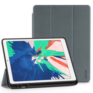 TUCCH iPad Air 3 10.5-inch 2019 Leather Case Cover  with Auto Sleep/Wake, Trifold Stand, Pencil Holder Smoke Grey