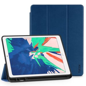 TUCCH iPad Air 3 10.5-inch 2019 Leather Case Cover with Auto Sleep/Wake, Trifold Stand, Pencil Holder - Navy Blue