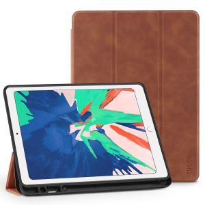 TUCCH iPad Air 3 10.5-inch 2019 Leather Case Cover with Auto Sleep/Wake, Trifold Stand, Pencil Holder Grinding Texture - Brown