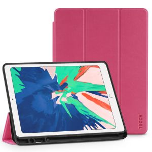 TUCCH iPad Air 3 10.5-inch 2019 Protect Cover with Auto Sleep/Wake, Kickstand, Pencil Holder - Hot Pink