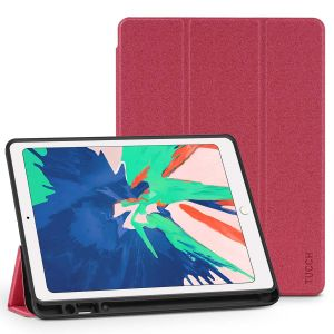 TUCCH iPad Air 3 10.5-inch 2019 Kickstand Leather Cover Case with Auto Sleep/Wake, Trifold Stand, Pencil Holder Line texture - Red