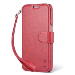 TUCCH Galaxy S7 Flip Folio PU Leather Wallet Case, Wrist Strap