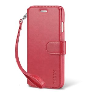 TUCCH iPhone 7 Wallet Phone Case, PU Leather Kickstand Case, Red