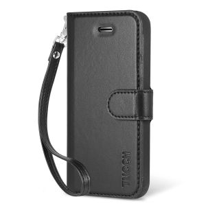 TUCCH iPhone 5/5S/SE Leather Wallet Case, Flip Book Case with Wrist Strap