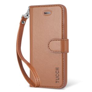 TUCCH iPhone 5/5S/SE Case, Premium Leather Wallet Case, Wrist Strap, Magnetic Clasp